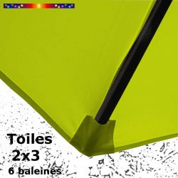 Toile Vert Lime pour parasol Lacanau rectangle 2x3 : coté bas de la baleine