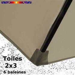 Toile Soie Grège pour parasol Lacanau rectangle 2x3 : coté bas de la baleine