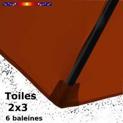 Toile Rouge Terracotta pour parasol Lacanau rectangle 2x3 : coté bas de la baleine
