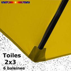 Toile Jaune Moutarde  pour parasol Lacanau rectangle 2x3 : coté bas de la baleine