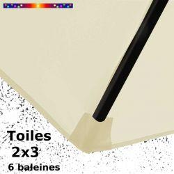 Toile de remplacement pour parasol rectangle 2x3 Crème : coté bas de la baleine