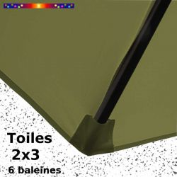 Toile Vert Lichen pour parasol rectangle 2x3 : coté bas de la baleine
