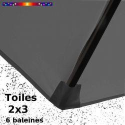 Toile de remplacement pour parasol rectangle 2x3 Gris Flanelle