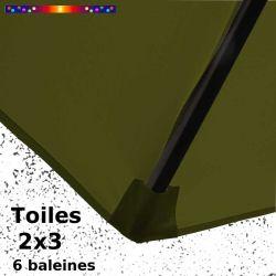 Parasol Lacanau Vert Olive 2x3 Bois : détail de la toile