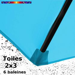 Parasol Lacanau Bleu Turquoise 2x3 Bois : détail de la toile