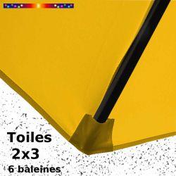Parasol Lacanau Jaune Tournesol 2x3 Bois : détail de la toile