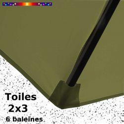 Parasol Lacanau Vert Lichen 2x3 Bois : détail de la toile