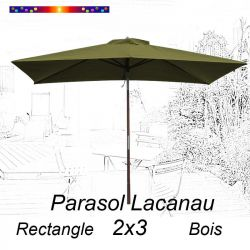 Parasol Lacanau Vert Lichen 2x3 Bois : vu de face