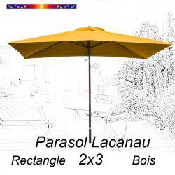 Parasol Lacanau Jaune Tournesol 2x3 Bois : vu de face