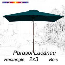 Parasol Lacanau Bleu Ocean 2x3 Bois : vu de face