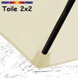 Toile de remplacement pour parasol carre 2x2 Ecru Crème : coté bas de la baleine
