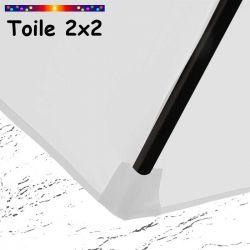 Toile de remplacement pour parasol carre 2x2 Blanc Jasmin : coté bas de la baleine
