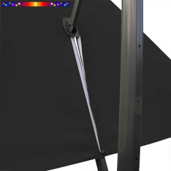 Toile 3x3 pour Parasol déporté Biscarrosse Gris Souris : vue du zip de la toile pour mise en place sur le mât