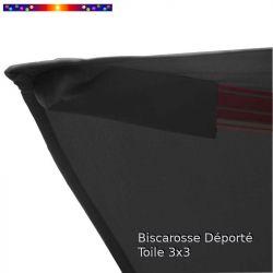 Toile Gris Souris CARREE 3x3 pour Parasol Déporté Biscarrosse : détail du fourreau de fixation de la toile sur la baleine