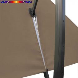 Toile 3x3 pour Parasol Biscarrosse Gris Taupe : vue du zip de la toile pour mise en place sur le mât