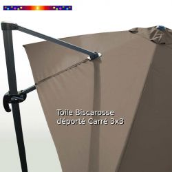 Toile Taupe CARREE 3x3 pour Parasol Déporté Biscarrosse : vue arrière du mât et de la toile sur l'armature