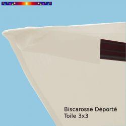 Toile Blanc Cassé CARREE 3x3 pour Parasol Déporté Biscarrosse  : détail de la fixation de la toile en bout de baleine