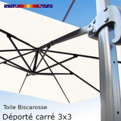 Toile Blanc Cassé CARREE 3x3 pour Parasol Déporté Biscarrosse 05