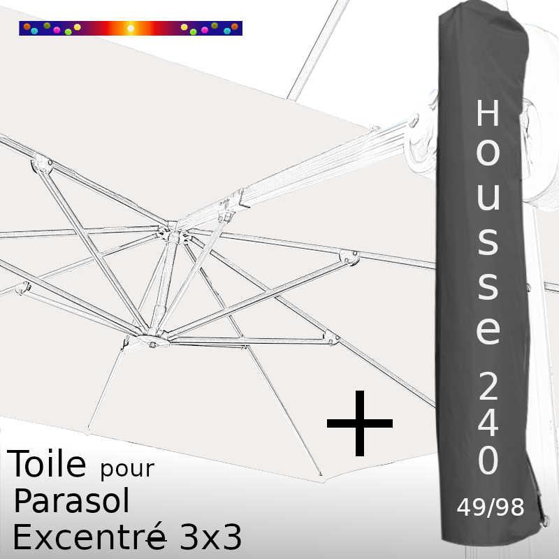 Pack : Toile Blanc cassé pour Parasol Déporté 3x3 + Housse 240x49/98