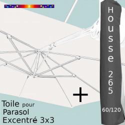 Pack : Toile Blanc Cassé pour parasol Déporté 3x3 + Housse 265x60/120