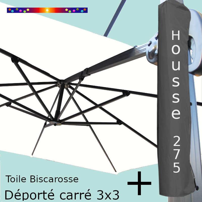 Pack : Toile Blanc Cassé pour parasol Déporté 3x3 + Housse 275x57/114