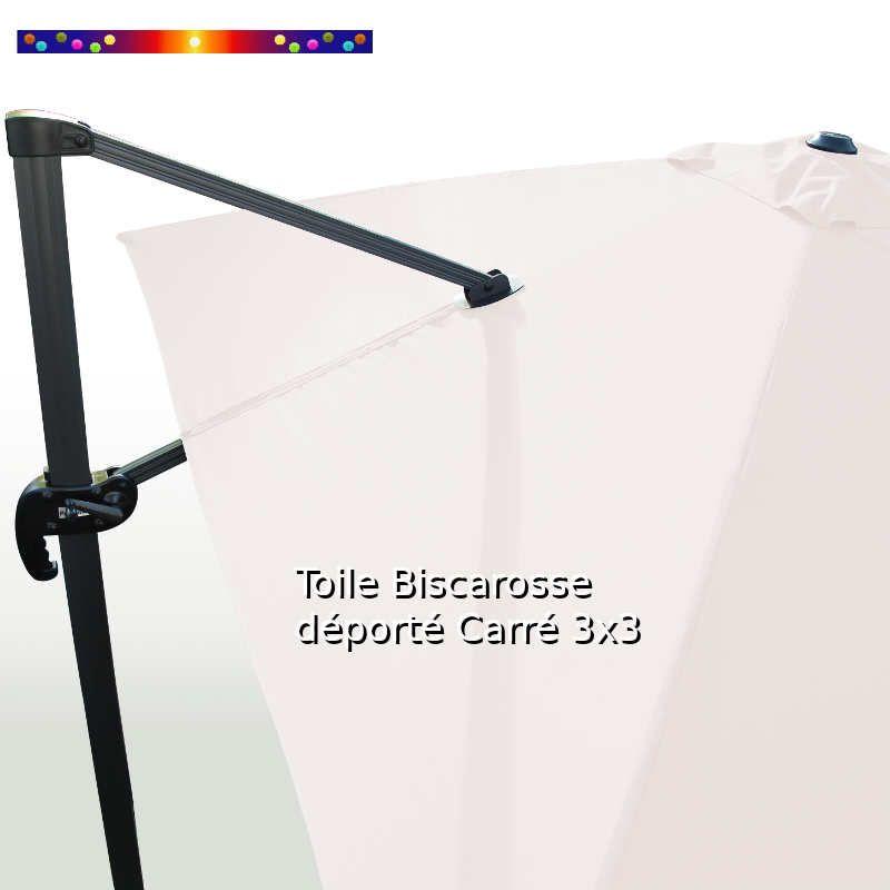Toile Blanc Cassé CARREE 3x3 pour Parasol Déporté Biscarrosse : vue arriere du parasol