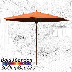 Parasol Lacanau Orange Capucine 300 cm Bois Frêne