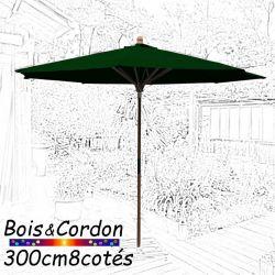 Parasol Lacanau Vert Pinède 300 cm Bois Frêne
