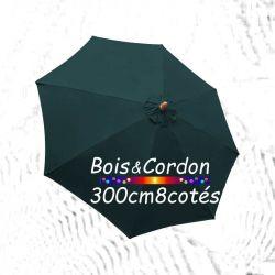 Parasol Lacanau Bleu Océan 300 cm Bois Frêne : Toile vue de dessus