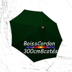 Parasol Lacanau Vert Pinède 300 cm Bois Frêne : Toile vue de dessus