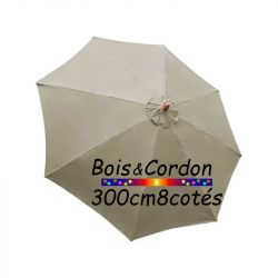 Parasol Lacanau Soie Grège  300 cm Bois Frene : Toile vue de dessus