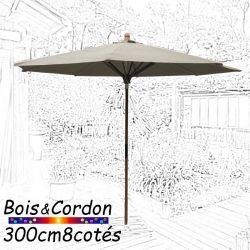 Parasol Lacanau Soie Grège  300 cm Bois Frene