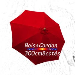 Parasol Lacanau Rouge Coquelicot 300 cm Bois Frene : Toile vue de dessus