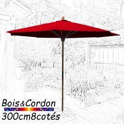Parasol Lacanau Rouge Coquelicot 300 cm Bois Frene