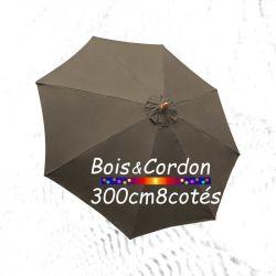 Parasol Lacanau Taupe  300 cm Bois Frene : Toile vue de dessus