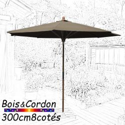 Parasol Lacanau Taupe  300 cm Bois Frene