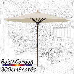 Parasol Lacanau Blanc Cassé  300 cm Frêne Bois&Cordon