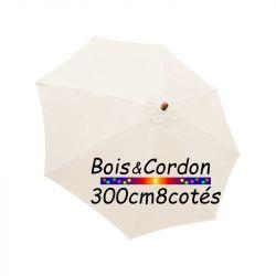Parasol Lacanau Blanc Cassé  300 cm Frêne Bois&Cordon : Toile vue de dessus