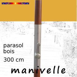Parasol Lacanau Tournesol 300 cm Bois Manivelle : détail de la manivelle