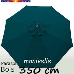 Parasol Lacanau Bleu Océan 350 cm Bois Manivelle