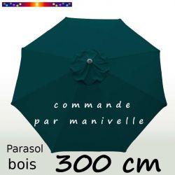 Parasol Lacanau Bleu Océan 300 cm Bois Manivelle