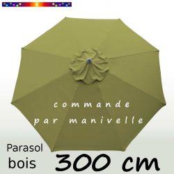 Parasol Lacanau Vert Lichen 300 cm Bois Manivelle