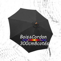 Parasol Lacanau Gris Souris 300 cm Frêne Bois&Cordon