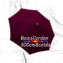 Parasol Lacanau Bordeaux 300 cm Frêne Bois&Cordon