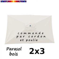 Parasol Lacanau Blanc Cassé 2x3 Bois  : vu de dessus