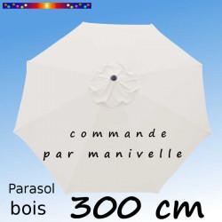 Parasol Lacanau Ecru Nature 300 cm Bois Manivelle