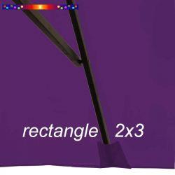 Toile de remplacement pour parasol rectangle 2x3 Violette: pochon de fixation d'une baleine
