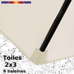 Toile Blanc Cassé pour parasol rectangle 2x3 : détail du fourreau de fixation de la toile sur la baleine