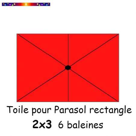 Toile Rouge Coquelicot pour parasol Lacanau rectangle 2x3 : position des 6 baleines