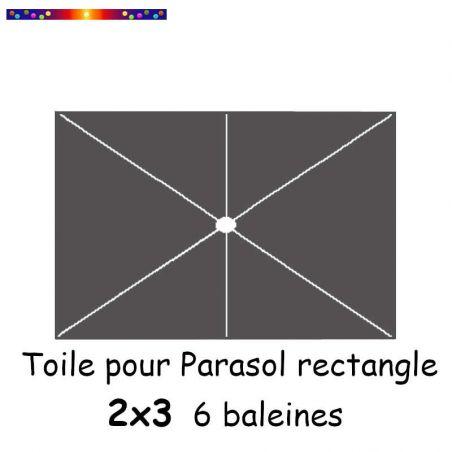 Toile Gris Souris pour parasol Lacanau rectangle 2x3  : position des 6 baleines